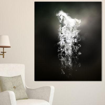 Designart Fantasy White Horse Running Animal Canvas Wall Art