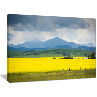 Design Art Farm House In Field Of Canola LandscapeCanvas Art Print