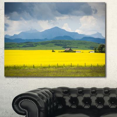 Designart Farm House In Field Of Canola LandscapeCanvas Art Print - 3 Panels