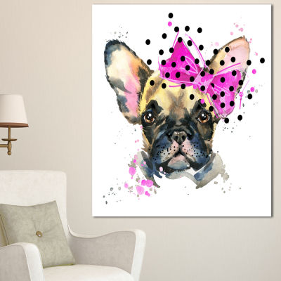 Designart Fashionable French Bulldog Animal CanvasWall Art