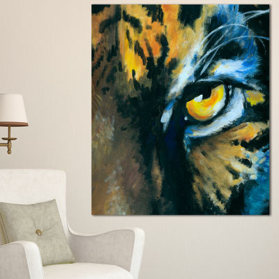 Designart Ferocious Eye Of Tiger Abstract Canvas Art Print