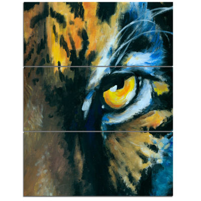 Designart Ferocious Eye Of Tiger Abstract CanvasArt Print - 3 Panels