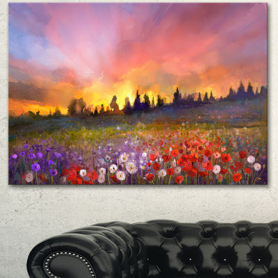 Designart Field Of Poppy Dandelion And Daisy LargeFloral Canvas Artwork - 3 Panels