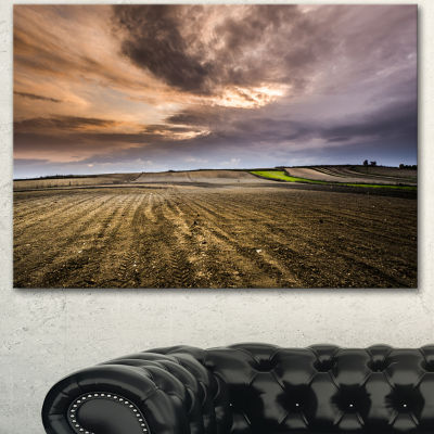Designart Field Waiting For Cultivation LandscapeCanvas Art Print