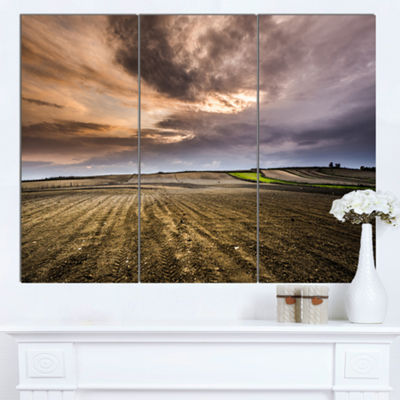 Designart Field Waiting For Cultivation LandscapeCanvas Art Print - 3 Panels