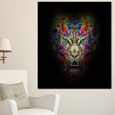 Designart Fierce Tiger Head On Black Animal CanvasArt Print - 3 Panels