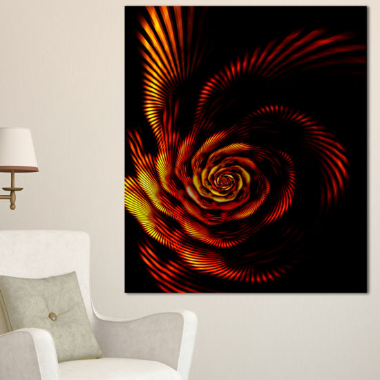 Designart Fiery Rose Fractal Flower Of Passion Flower Artwork On Canvas