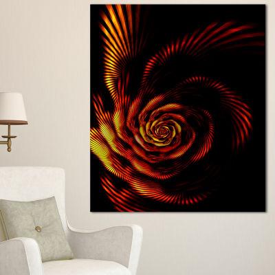 Design Art Fiery Rose Fractal Flower Of Passion Flower Artwork On Canvas - 3 Panels