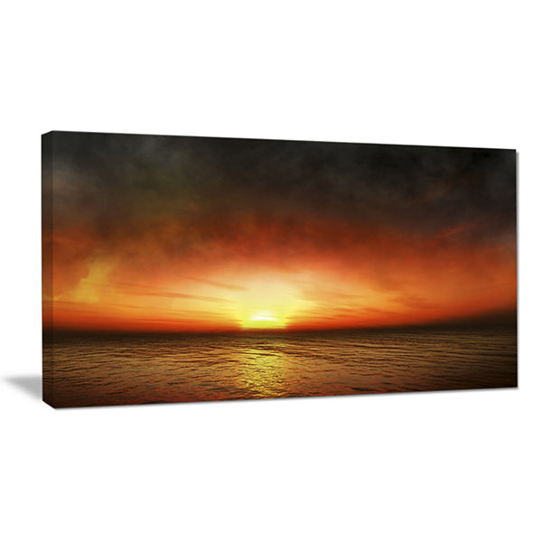 Design Art Fiery Sunset Beach Under Cloudy Sky Modern Seashore Canvas Art
