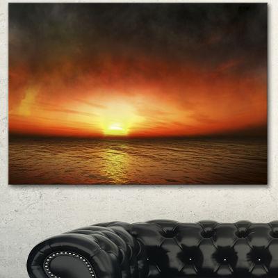 Designart Fiery Sunset Beach Under Cloudy Sky Modern Seashore Canvas Art - 3 Panels