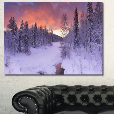 Designart Finnish Lapland Trees In Winter Landscape Canvas Art Print - 3 Panels