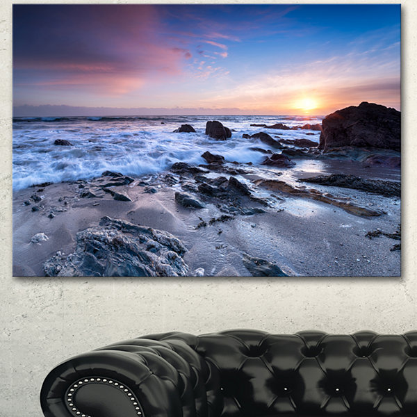 Designart Finnygook Beach In Cornwall At Sunset Modern Seashore Canvas Art