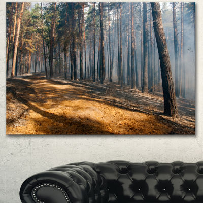 Designart Fire In Forest With Flame And Smoke Modern Forest Canvas Art - 3 Panels