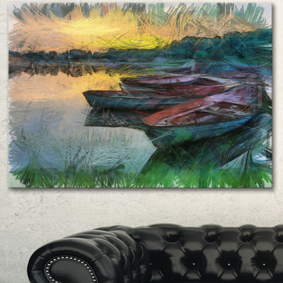 Designart Fishing Boats By River Watercolor Landscape Canvas Wall Art - 3 Panels