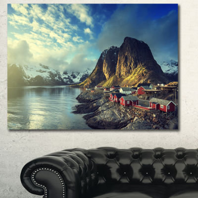 Design Art Fishing Hut At Spring Sunset LandscapeCanvas Art Print - 3 Panels