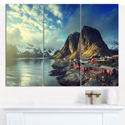 Designart Fishing Hut At Spring Sunset Landscape Canvas Art Print - 3 Panels