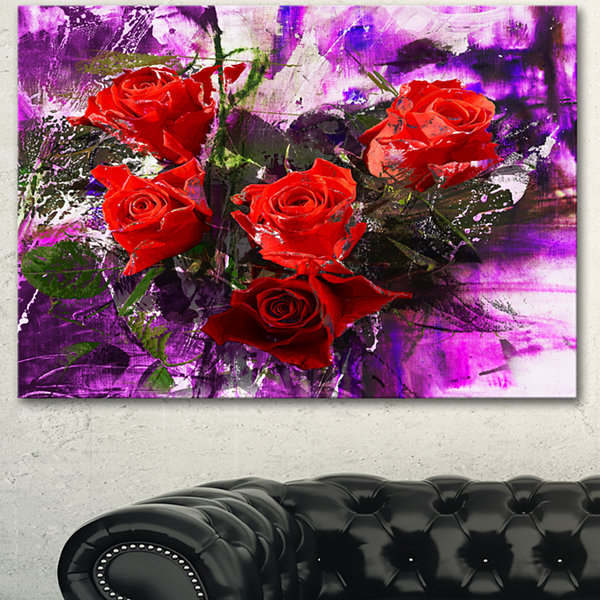 Designart Five Red Roses Abstract Background Floral Art Canvas Print