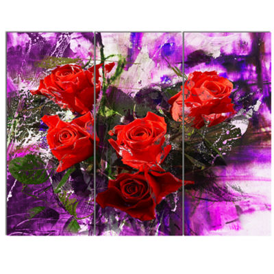 Designart Five Red Roses Abstract Background Floral Art Canvas Print - 3 Panels