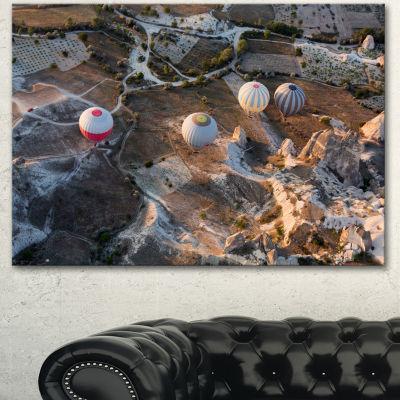 Designart Flight With Balloons At Sunrise Large Landscape Canvas Art - 3 Panels