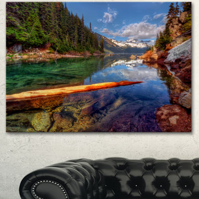 Designart Floating Lake In Mountain Lake Large Landscape Canvas Art Print - 3 Panels