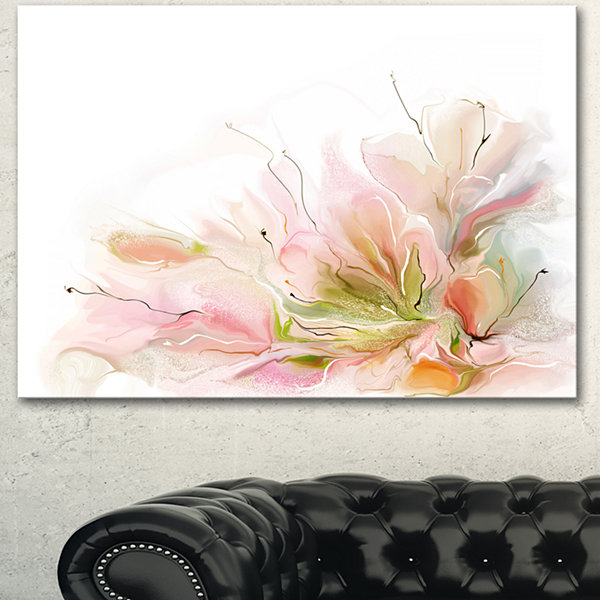 Designart Floral Abstract Design On White Extra Large Floral Wall Art - 3 Panels