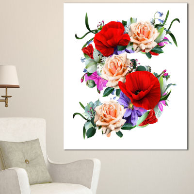 Designart Floral Figure With Variety Of Flowers Floral Canvas Art Print - 3 Panels