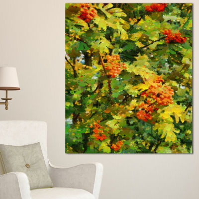 Designart Floral Pattern With Palette Knife FlowerArtwork On Canvas