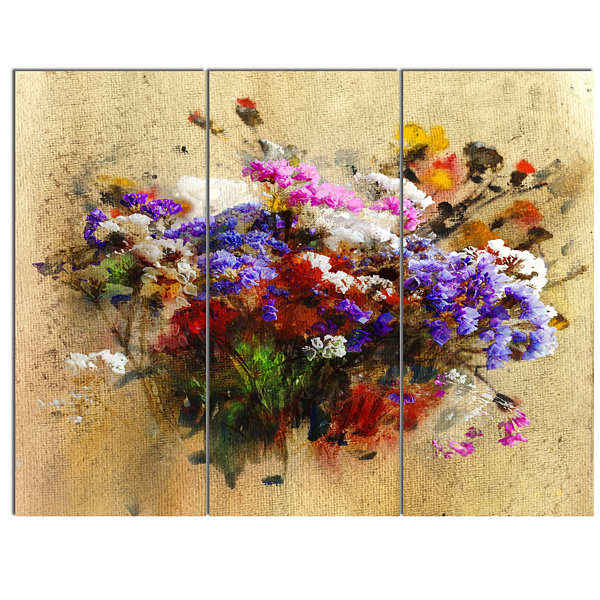 Designart Floral Still With Bunch Of Flowers Floral Art Canvas Print - 3 Panels