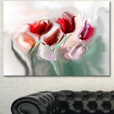 Designart Floral Watercolor Illustration Large Animal Canvas Art Print - 3 Panels