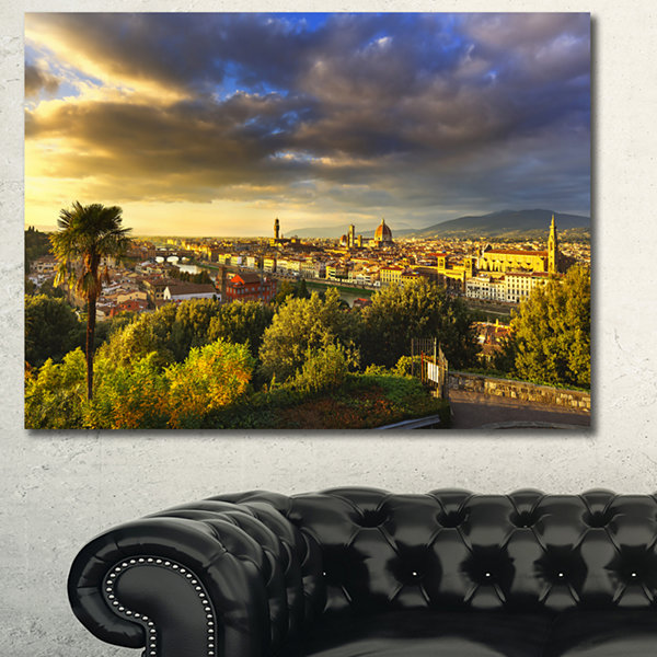 Designart Florence Sunset Aerial View Landscape Canvas Art Print - 3 Panels