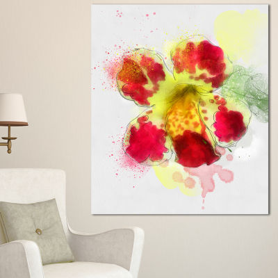 Design Art Flower Watercolor With Color Splashes Floral Canvas Art Print - 3 Panels