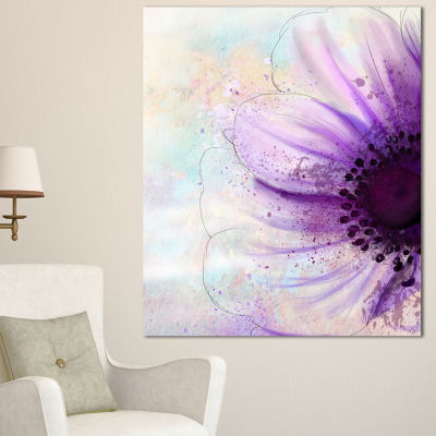 Designart Flower With Large Purple Petals FlowersCanvas Wall Artwork