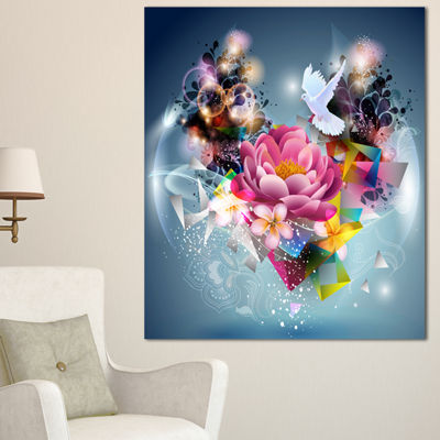 Designart Flowers And Dove Abstract Design FloralCanvas Art Print