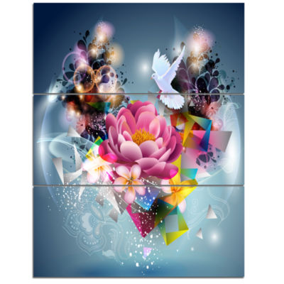 Designart Flowers And Dove Abstract Design FloralCanvas Art Print - 3 Panels