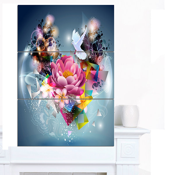 Design Art Flowers And Dove Abstract Design FloralCanvas Art Print - 3 Panels