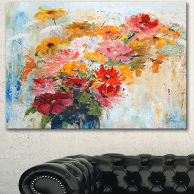 Designart Flowers In Vase Painted Illustration Floral Art Canvas Print