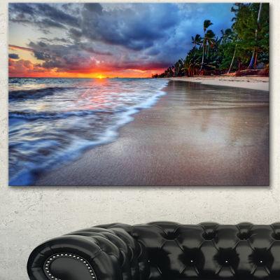 Design Art Fluffy Dark Clouds Over Ocean SeashoreCanvas Art Print - 3 Panels