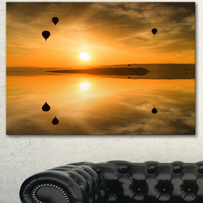 Designart Flying Balloons And Reflection Large Seashore Canvas Art Print - 3 Panels