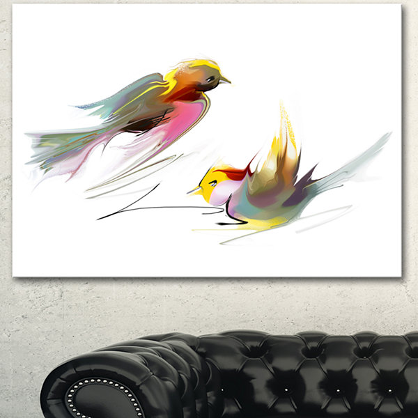 Designart Flying Birds Illustration Large AnimalCanvas Art Print