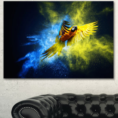 Designart Flying Parrot Over Color Burst Contemporary Animal Art Canvas