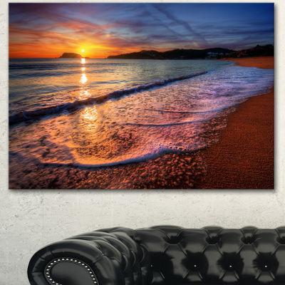 Designart Foaming Waves At Beautiful Sunset Seashore Canvas Art Print - 3 Panels