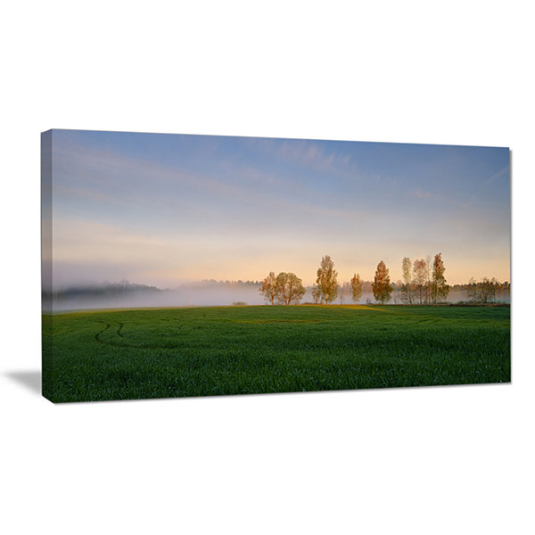 Design Art Foggy Early Morning Panorama LandscapeCanvas Art Print