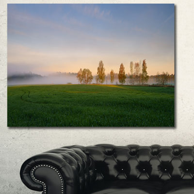 Designart Foggy Early Morning Panorama LandscapeCanvas Art Print - 3 Panels