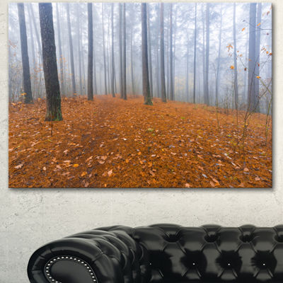 Designart Foggy Forest And Fallen Leaves Modern Forest Canvas Art