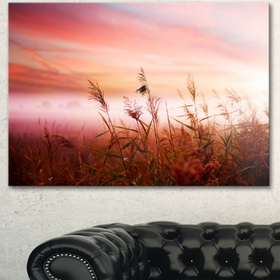 Designart Foggy Land With Early Morning Mist Landscape Canvas Art Print