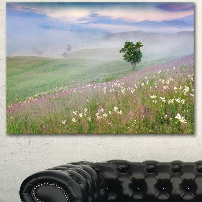Designart Foggy Summer Morning In Mountains LargeLandscape Canvas Art Print - 3 Panels