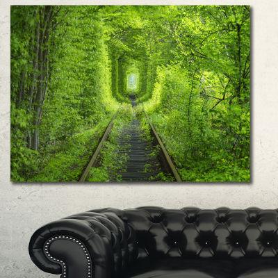 Designart Forest Around Rail Way Tunnel LandscapeCanvas Art Print