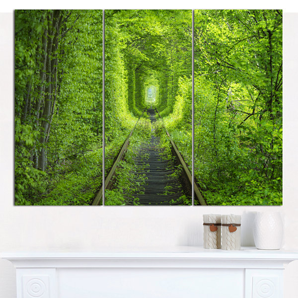 Designart Forest Around Rail Way Tunnel LandscapeCanvas Art Print - 3 Panels