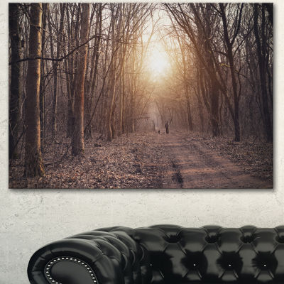 Design Art Forest Pathway View At Sunset Modern Forest Canvas Art