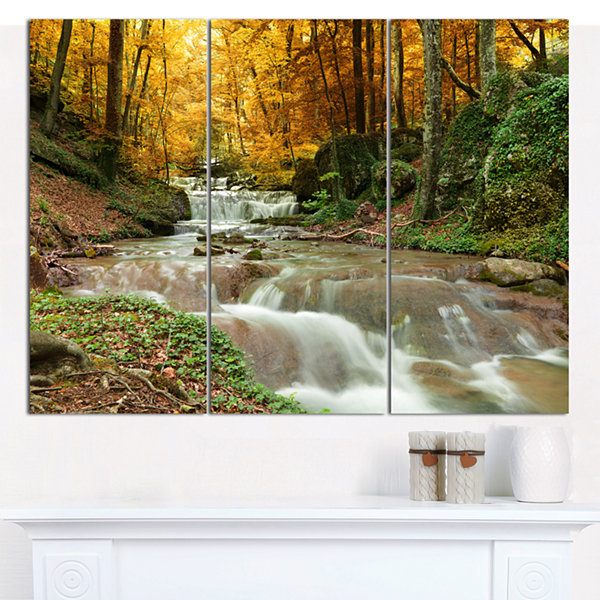 Designart Forest Waterfall With Yellow Trees Landscape Canvas Art Print - 3 Panels
